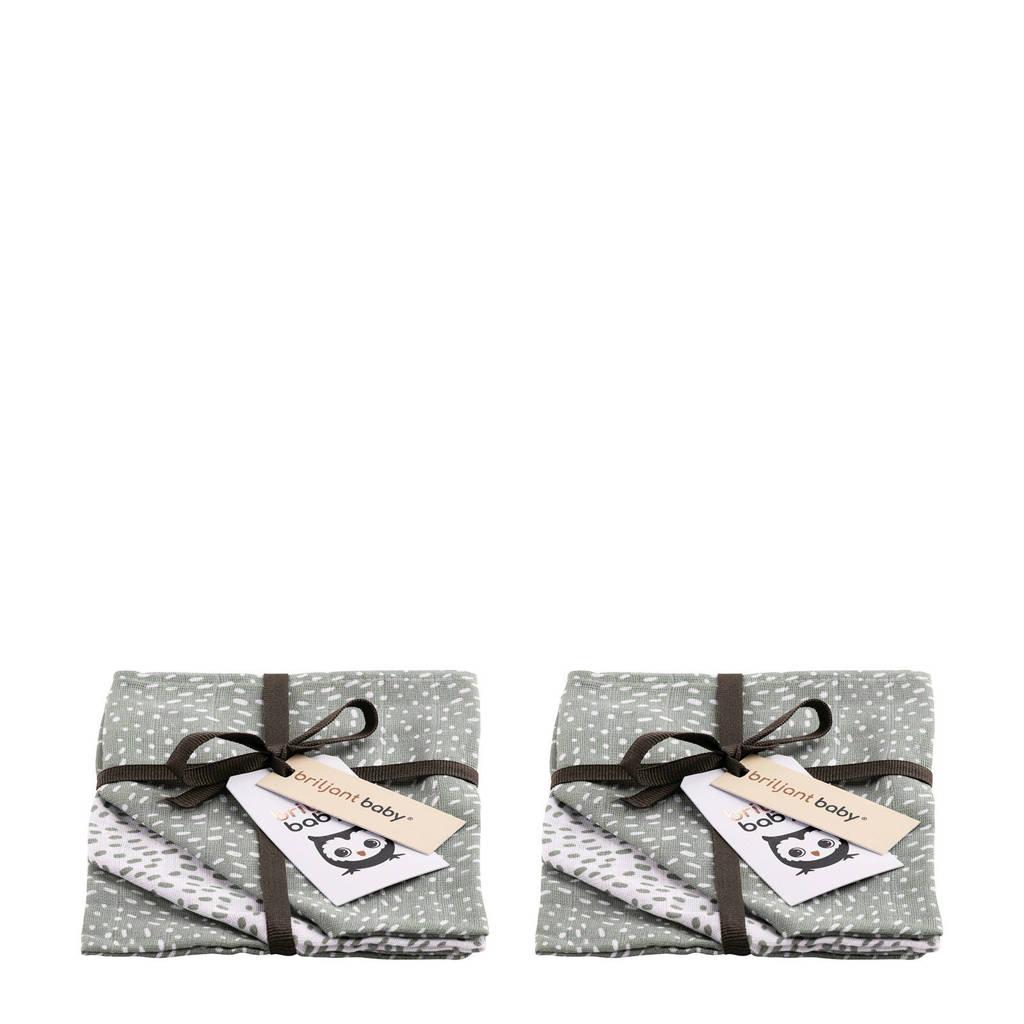 Briljant Baby Minimal Dots  hydrofiel washandje - 2x set van 3 grijsgroen, Grijsgroen