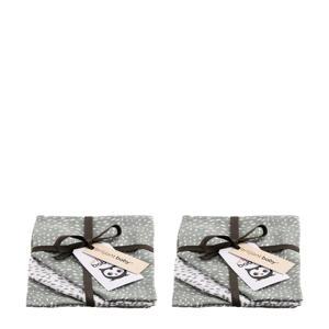 Minimal Dots  hydrofiel washandje - 2x set van 3 grijsgroen