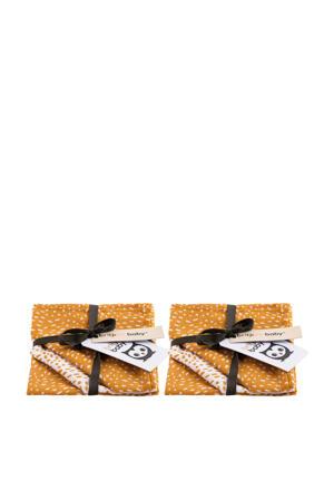 Minimal Dots hydrofiel monddoekje - 2x set van 3 oker