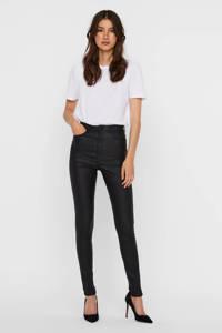 VERO MODA coated high waist skinny broek zwart, Zwart