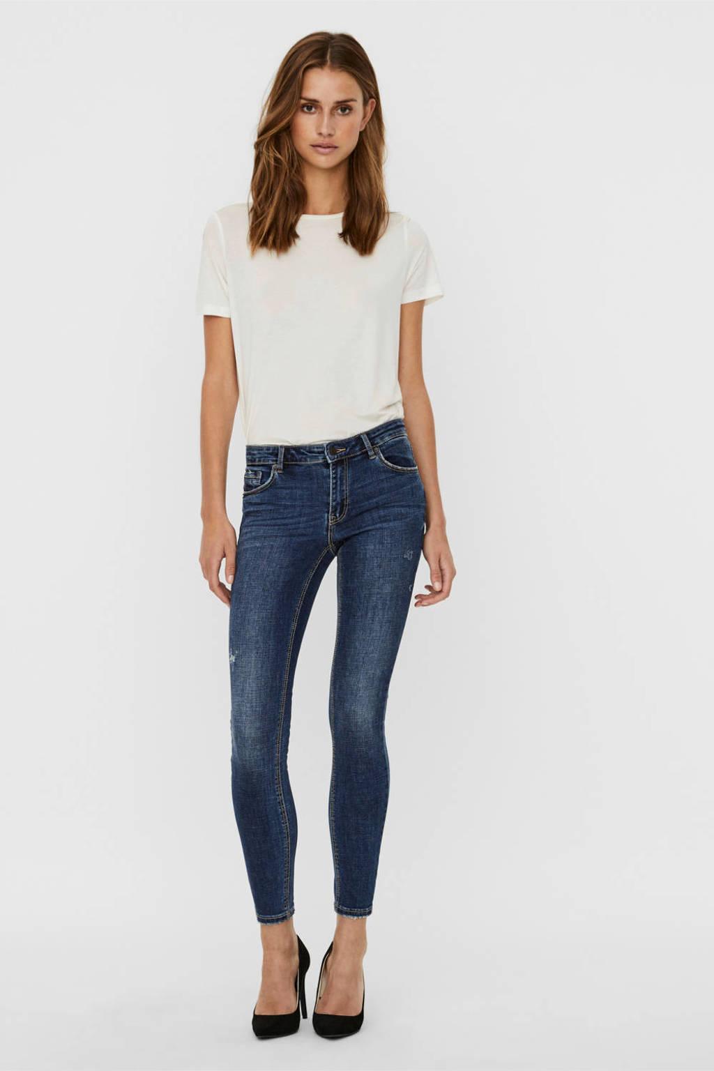 VERO MODA low waist skinny jeans Lydia met biologisch katoen donkerblauw, Donkerblauw