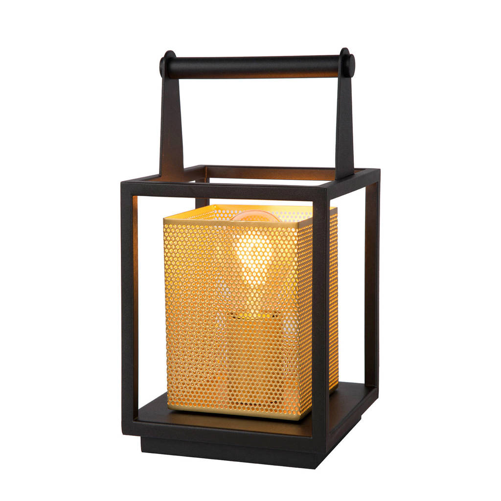 Lucide tafellamp Sansa, Zwart/Mat Goud / Messing