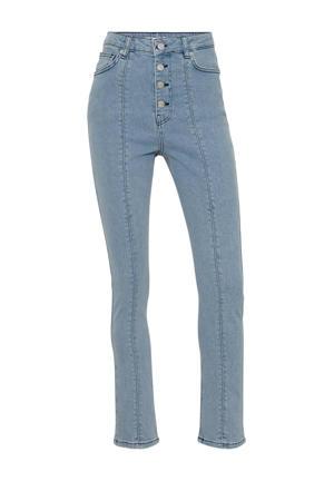 high waist slim fit jeans light denim