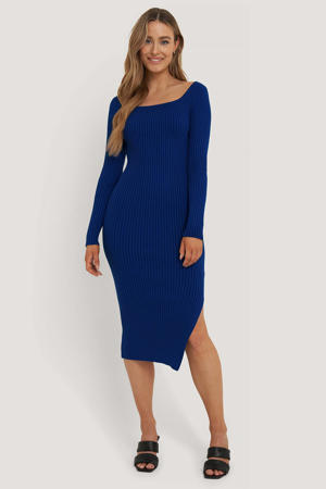 ribgebreide jurk blauw
