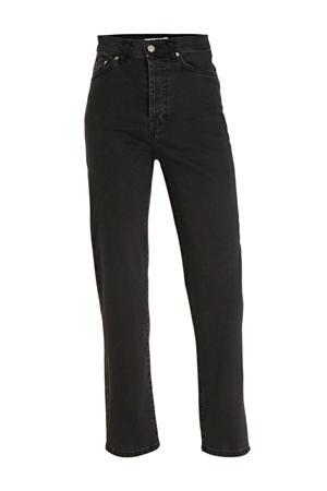 high waist straight fit jeans zwart