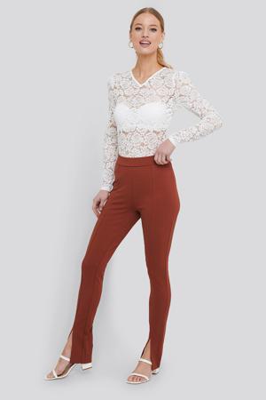 high waist skinny broek terracotta