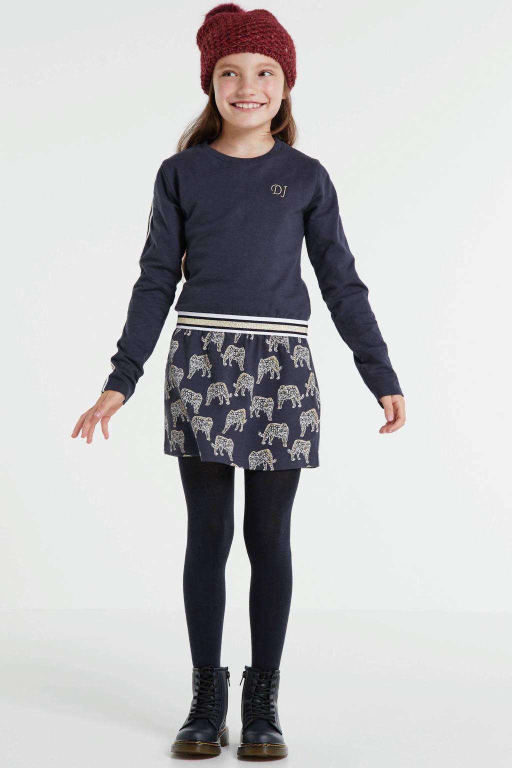 DJ Dutchjeans jurk met contrastbies en borduursels donkerblauw/goud/wit, Donkerblauw/goud/wit