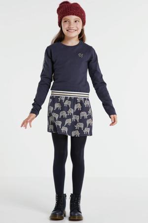 jurk met contrastbies en borduursels donkerblauw/goud/wit