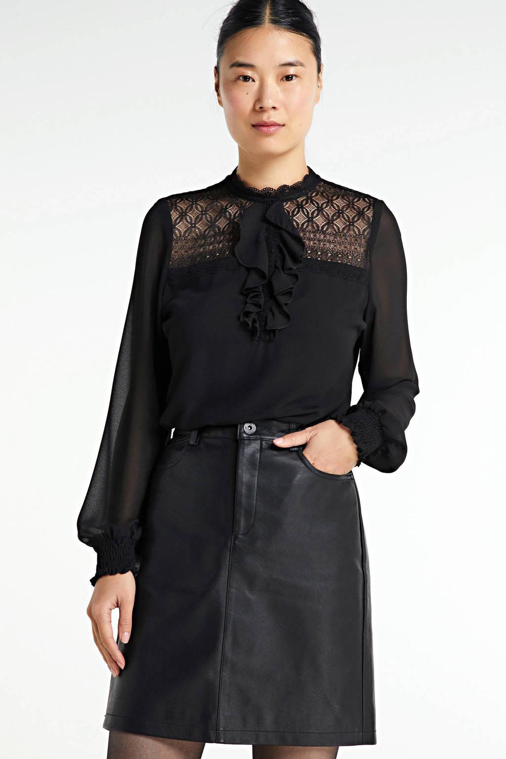 edc Women coated rok zwart, Zwart