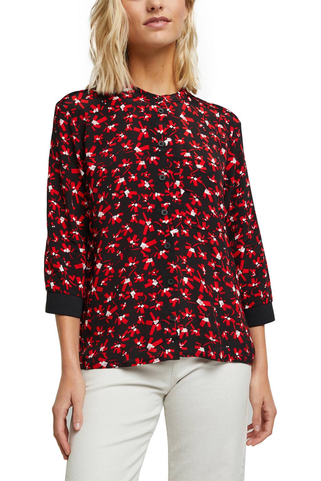 edc Women blouse met all over print zwart/rood/wit, Zwart/rood/wit