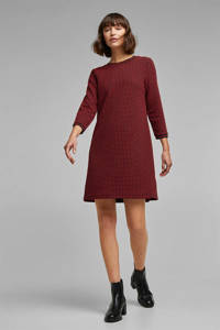 edc Women geruite gebreide jurk zwart/rood, Zwart/rood