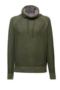 edc Women ribgebreide trui met textuur donkergroen/wit/zwart, Donkergroen/wit/zwart