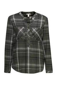 edc Women geruite blouse donkergroen/zwart/wit