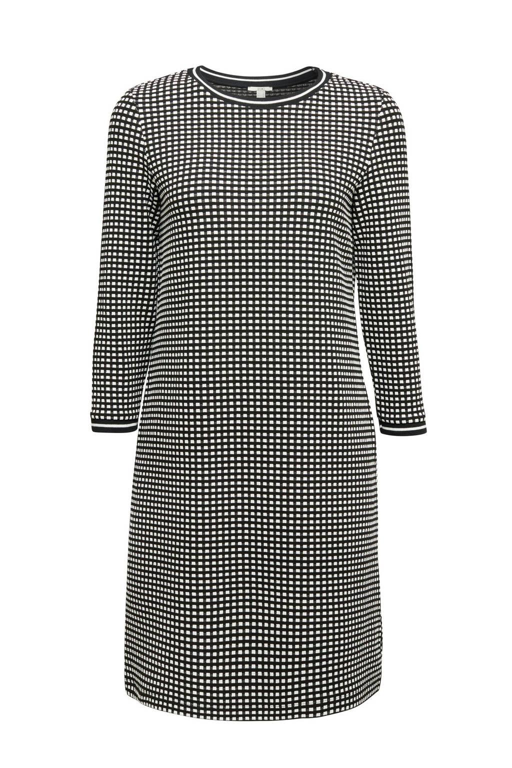 edc Women geruite gebreide jurk zwart/wit, Zwart/wit
