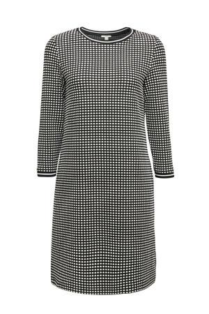 geruite gebreide jurk zwart/wit
