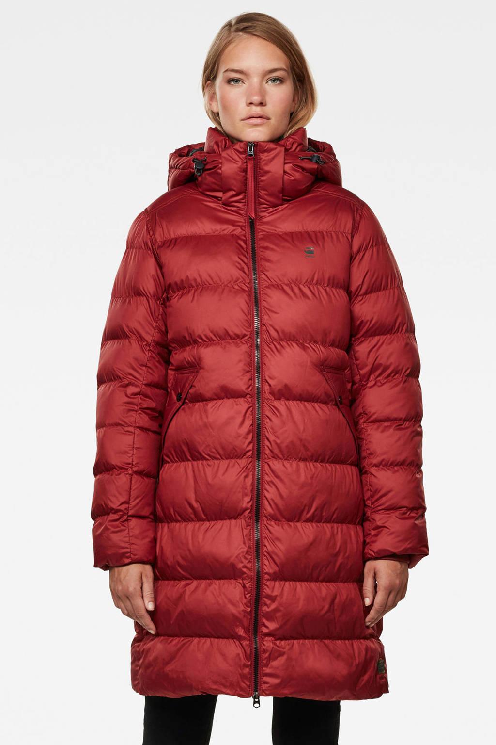G-Star RAW gewatteerde jas met afneembare capuchon Whistler dry red
