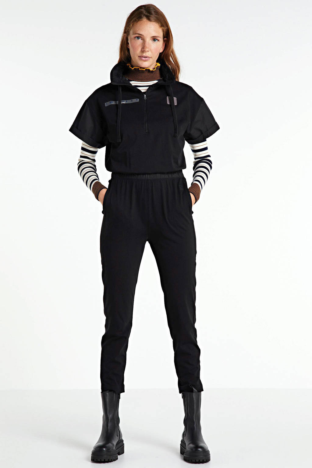 G-Star RAW gebreide jersey jumpsuit met col Utility dk black, DK Black