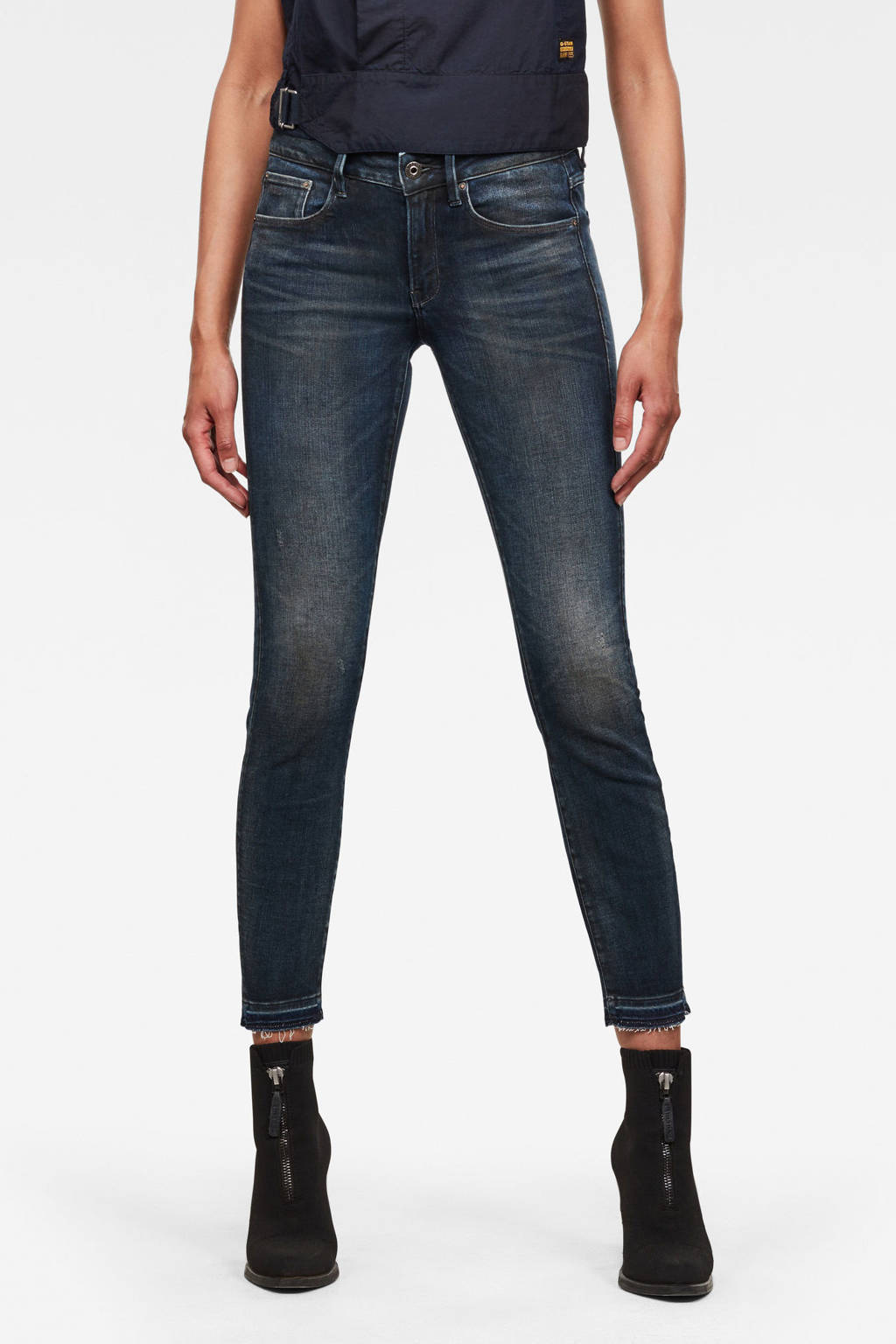 G-Star RAW Kafey high waist skinny jeans met biologisch katoen worn in gravel blue