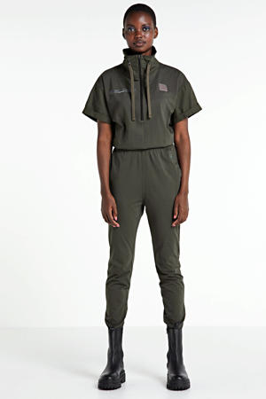gebreide jersey jumpsuit met col Utility asfalt green