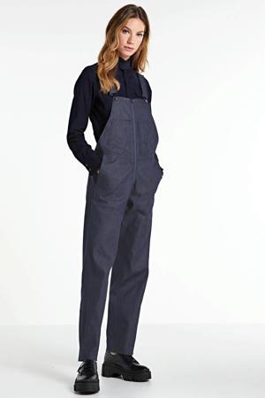 high waist straight fit tuinbroek raw denim