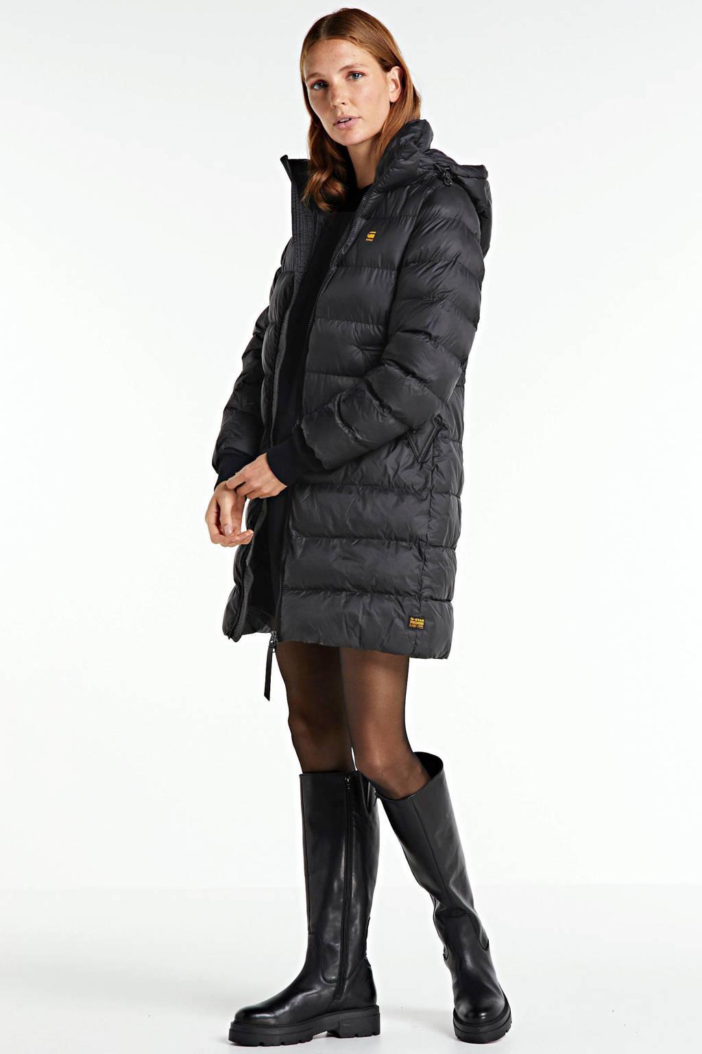 G-Star RAW gewatteerde jas met afneembare capuchon Whistler dk black, Zwart