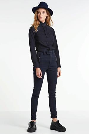 blouse Western kick frill slim rinsed blue