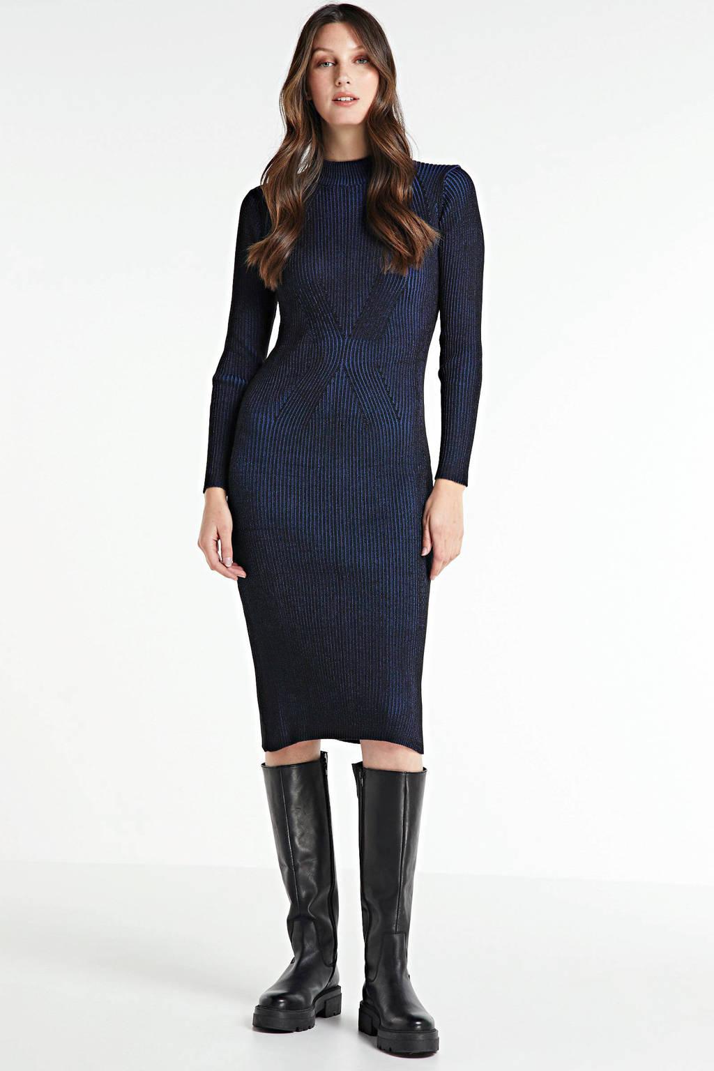 G-Star RAW maxi jurk Plated lynn dress mock slim knit wmn l\s met textuur imperial blue, Imperial Blue