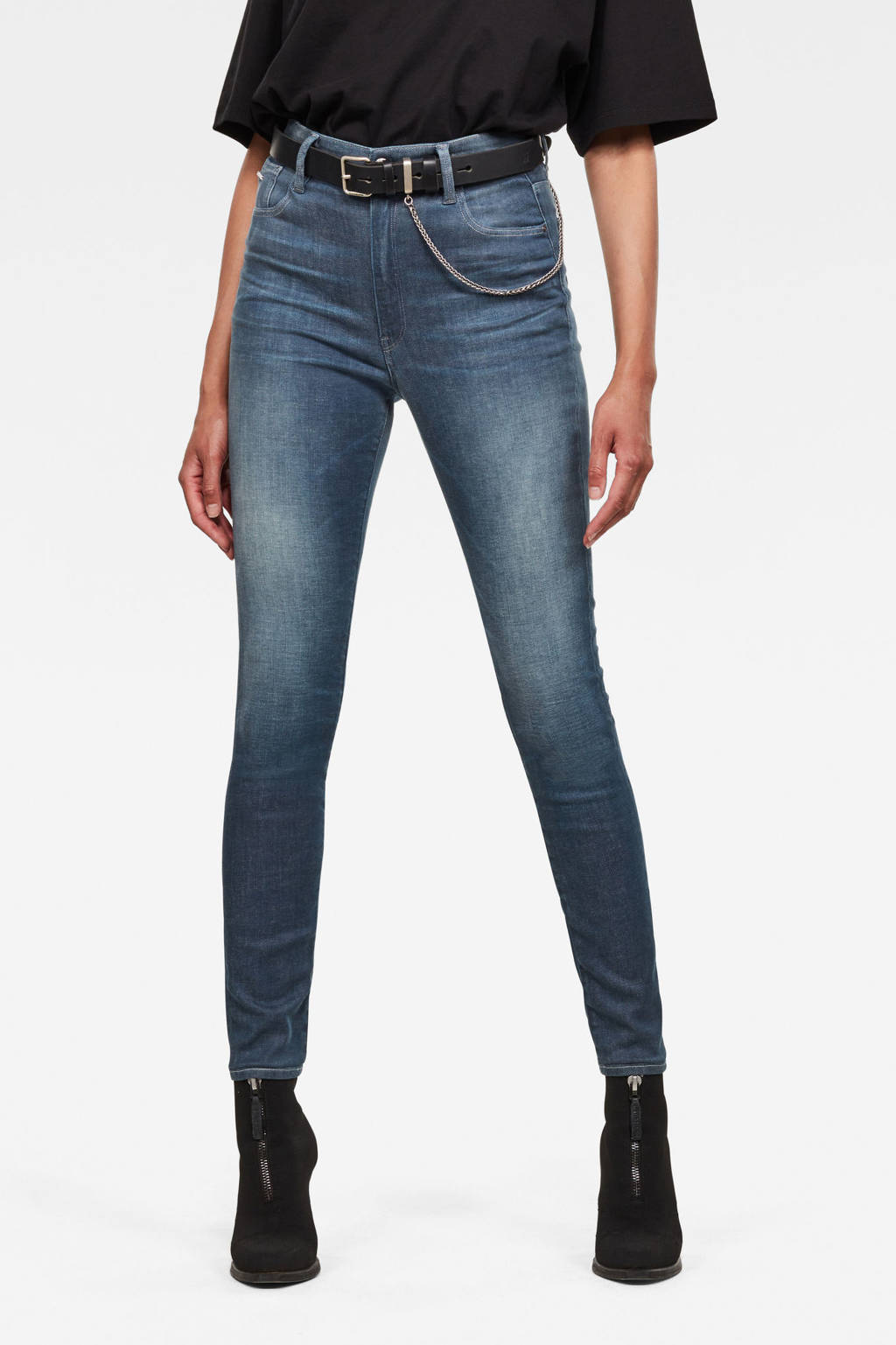 G-Star RAW high waist skinny jeans Kafey worn in gravel blue