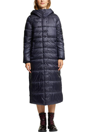 gewatteerde jas van gerecycled polyester donkerblauw