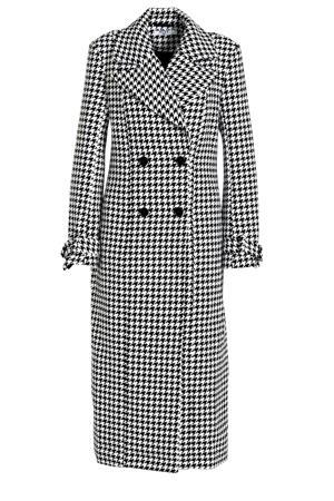coat tussen met pied-de-poule zwart/ wit