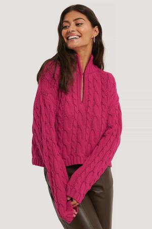 grofgebreide trui met open detail roze