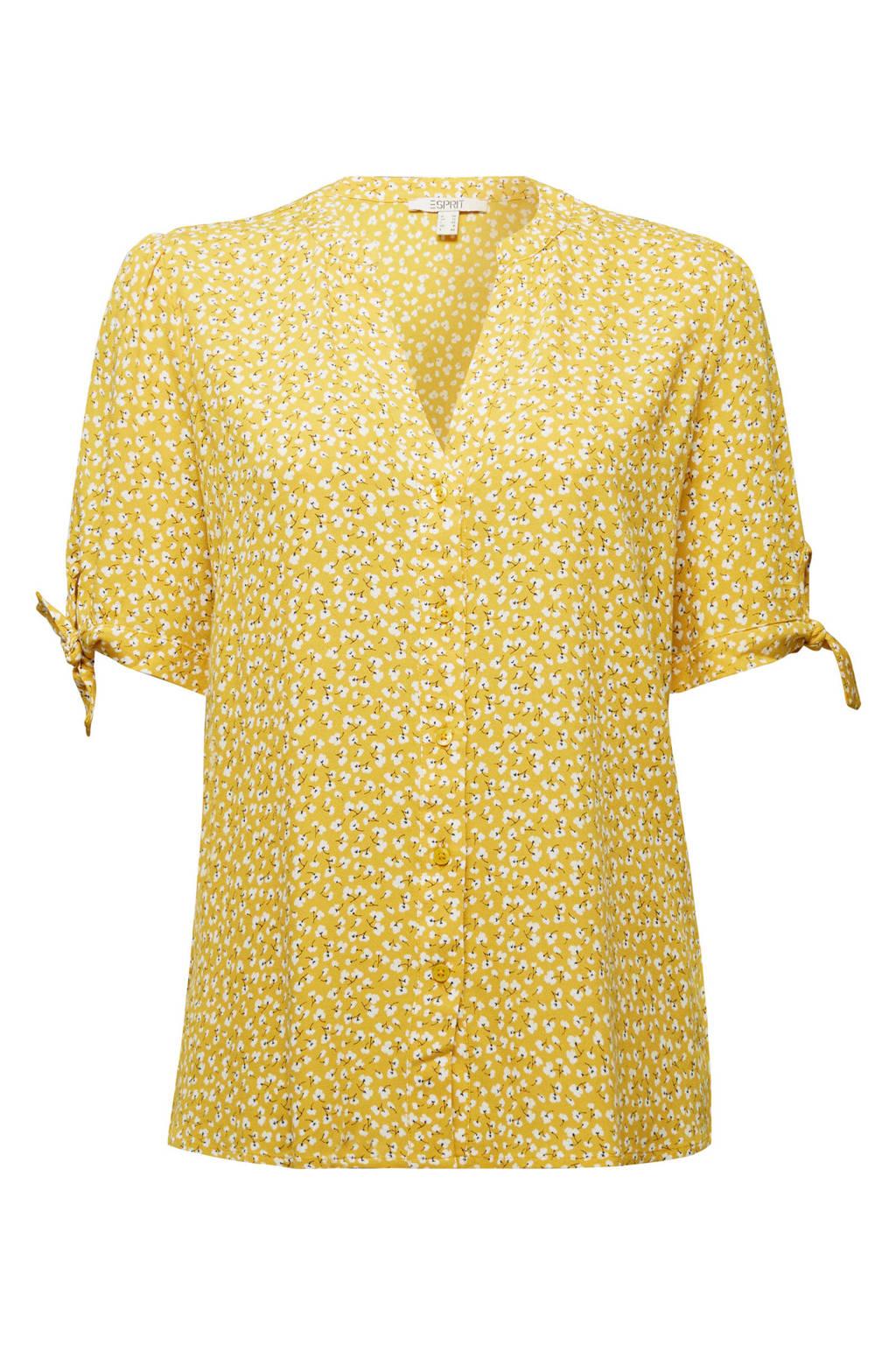 ESPRIT Women Casual blouse met all over print geel/wit/zwart, Geel/wit/zwart
