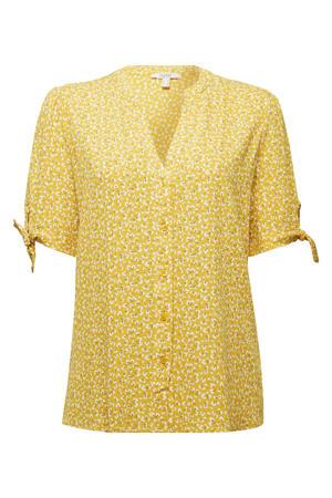 blouse met all over print geel/wit/zwart