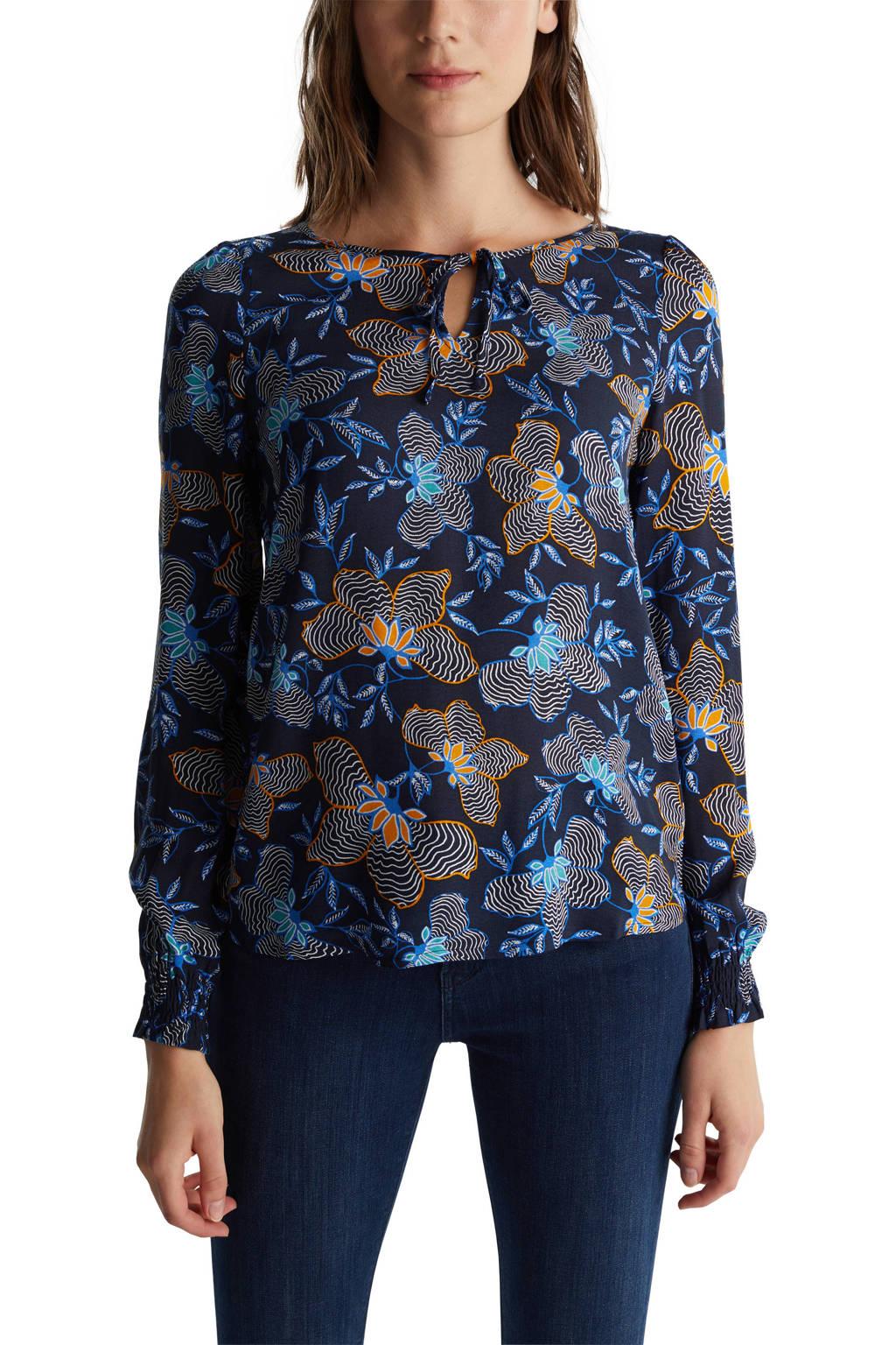 ESPRIT Women Casual blouse met all over print en open detail donkerblauw/blauw/oranje, Donkerblauw/blauw/oranje