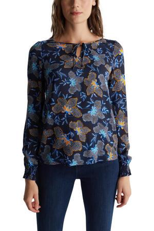 blouse met all over print en open detail donkerblauw/blauw/oranje