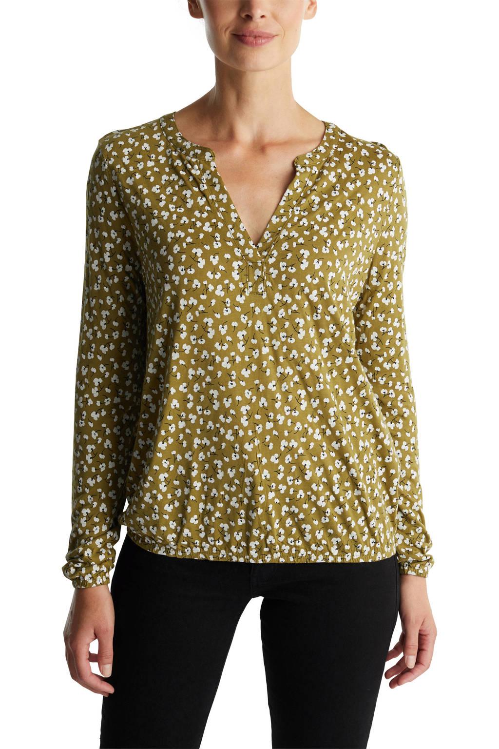 ESPRIT Women Casual top met all over print geelgroen/wit/zwart, Geelgroen/wit/zwart