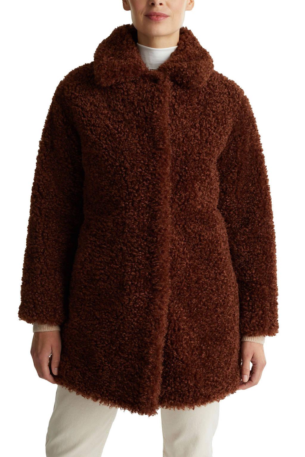 ESPRIT Women Casual teddy jas roodbruin, Roodbruin