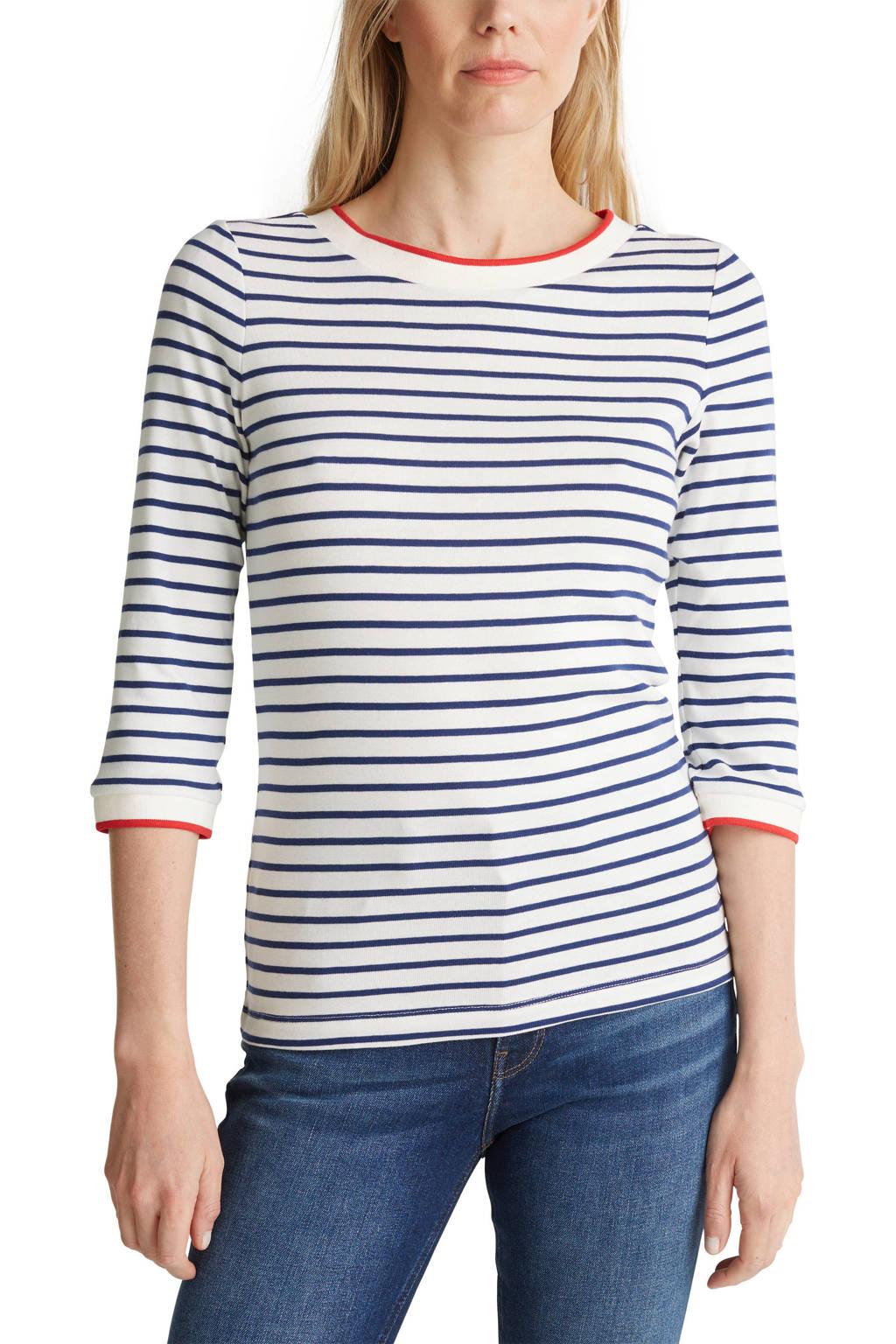 ESPRIT Women Casual gestreepte top wit/donkerblauw/rood, Wit/donkerblauw/rood