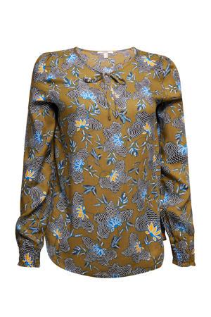blouse met all over print olijfgroen/blauw/zwart