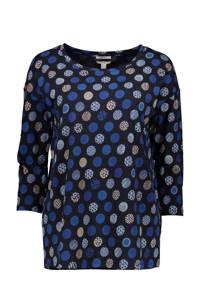 ESPRIT Women Casual top met all over print zwart/blauw/beige, Zwart/blauw/beige