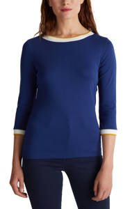 ESPRIT Women Casual top blauw/wit/oker, Blauw/wit/oker