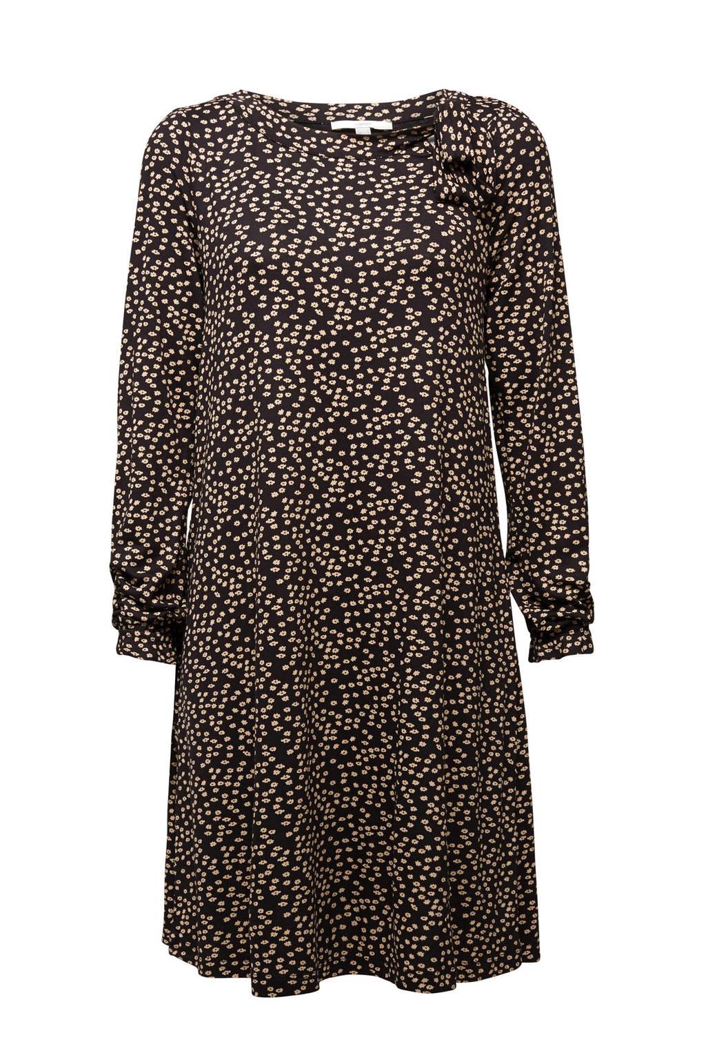 ESPRIT Women Casual jurk met all over print zwart/zand, Zwart/zand