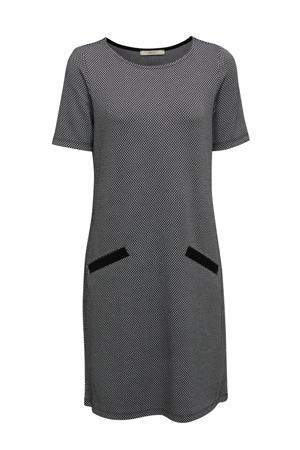 jurk met all over print zwart/ wit