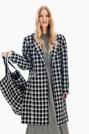 coat met pied-de-poule zwart/wit
