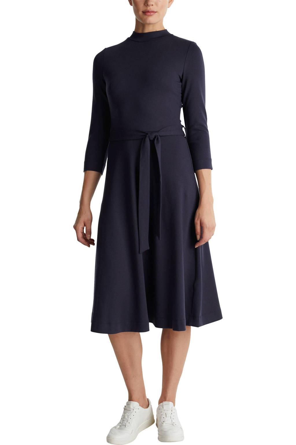 ESPRIT Women Casual A-lijn jurk met plooien donkerblauw, Donkerblauw