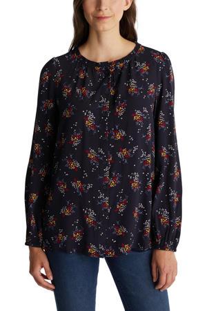 blouse met all over print en ruches donkerblauw/geel/rood