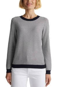 ESPRIT Women Casual gebreide trui met biologisch katoen wit/zwart, Wit/zwart