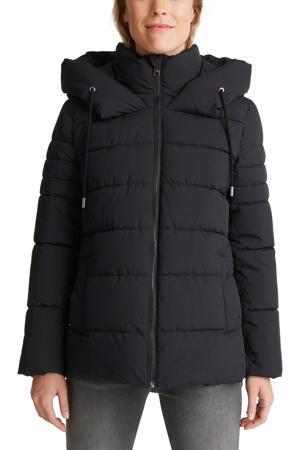 gewatteerde jas van gerecycled polyester zwart