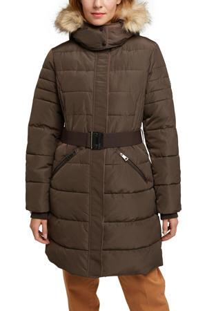 gewatteerde jas met ceintuur bruin