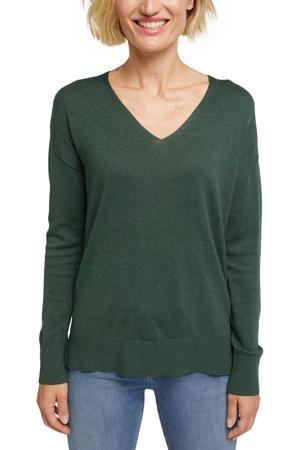 fijngebreide trui met biologisch katoen groen